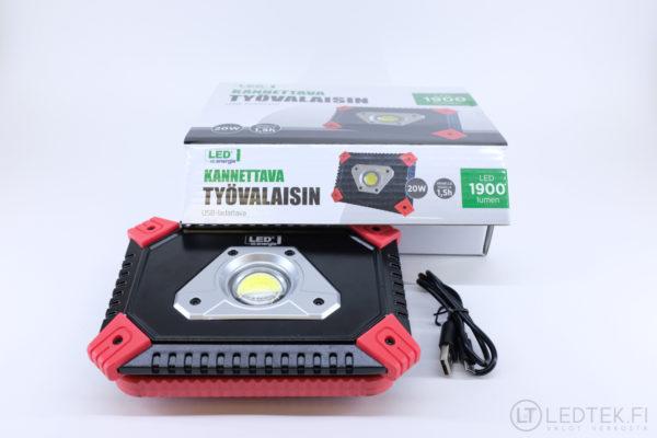 LED-energie työvalaisin 20W ladattava 1900 lm