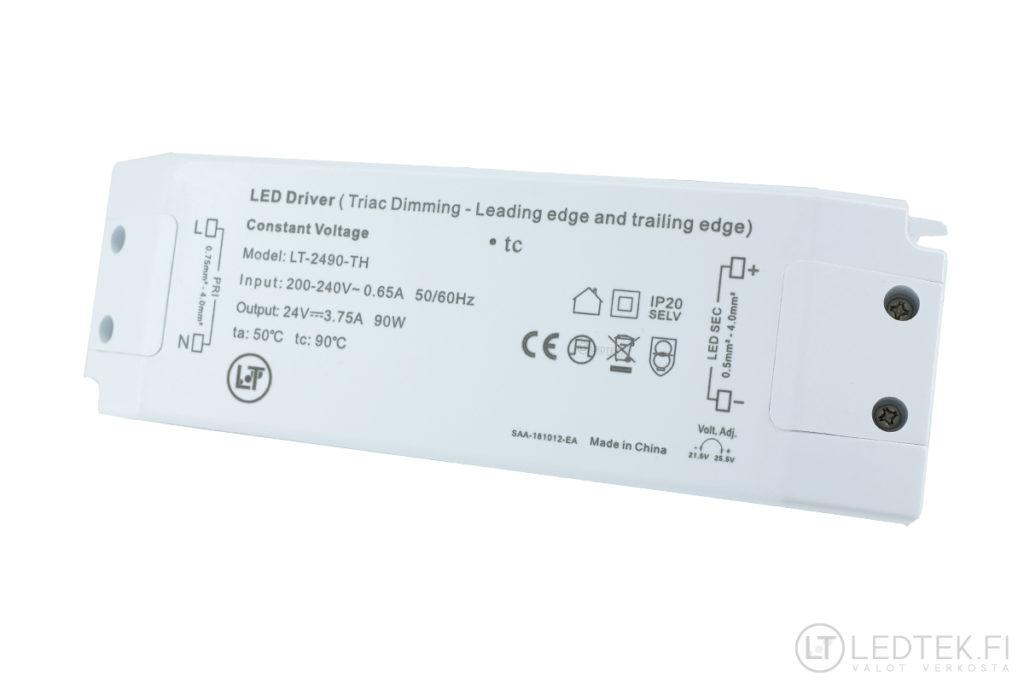 Triac himmennettävä LED-muuntaja 90W 24V