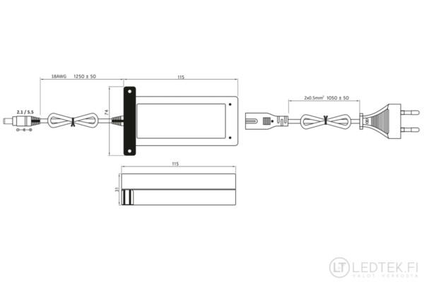 LED-pistorasiamuuntaja