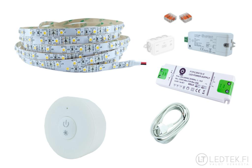 LED-nauha peilin taakse